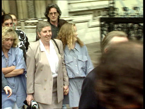 alison shaughnessy murder: taylor sisters appeal; england: london: high court: ext lagv high court gvs l-r taylor family out of court towards press... - courthouse stock videos & royalty-free footage