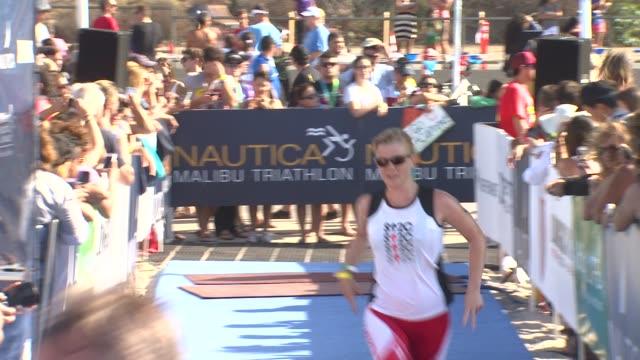 alison sweeney arrives at finish line at 26th annual nautica malibu triathlon on 9/16/12 in malibu ca - nautica malibu triathlon stock videos & royalty-free footage