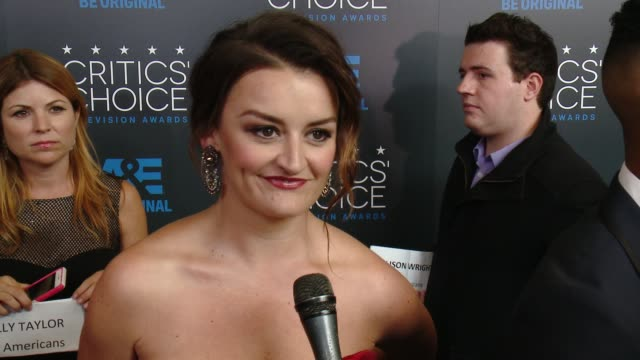 """alison wright on being at the event, and on her series """"the americans"""" at the 2015 critics' choice television awards at the beverly hilton hotel on... - 放送テレビ批評家協会賞点の映像素材/bロール"""