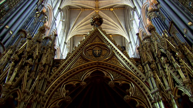 alistair bruce takes a tour of westminster abbey looking at the route prince william kate middleton will take during the service royal wedding... - westminster abbey stock-videos und b-roll-filmmaterial