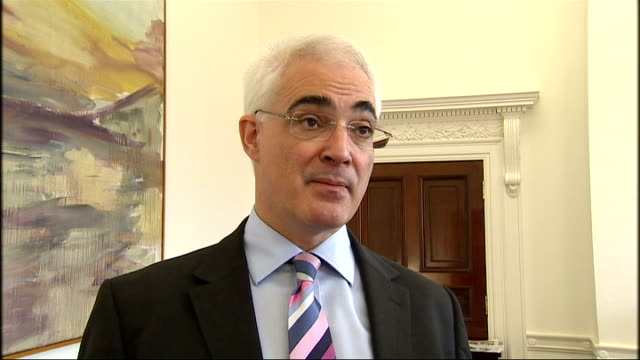 london int alistair darling mp greeting journalists as entering room sot alistair darling mp interview sot bank of england believes we need to put... - addition key stock videos & royalty-free footage