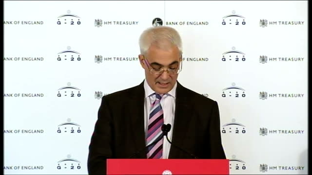 alistair darling speech at g20 finance ministers meeting alistair darling mp speech sot we and central bank governors agreed that g20 central bankers... - significant stock videos & royalty-free footage