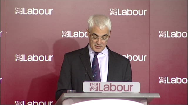 alistair darling speech on tory spending plans; england: london: labour hq: int alistair darling mp speech sot - at the coming election the... - seguire attività che richiede movimento video stock e b–roll