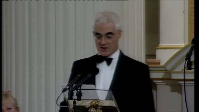 alistair darling speech to city of london alistair darling mp speech sot my lord mayor mr governor my lords ministers aldermen mr recorder sheriffs... - banking sign stock videos & royalty-free footage