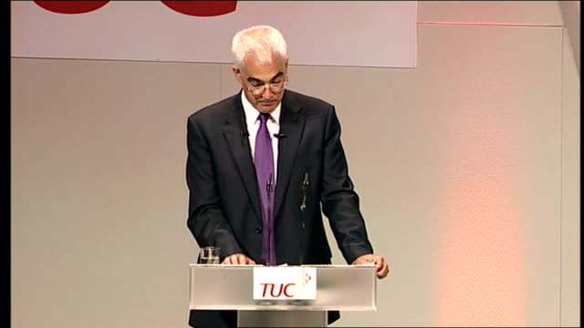 alistair darling speech to the tuc; - this is different from the home grown problems of 70s, 80s and 90s - economy stronger than in past - most... - 労働組合会議点の映像素材/bロール