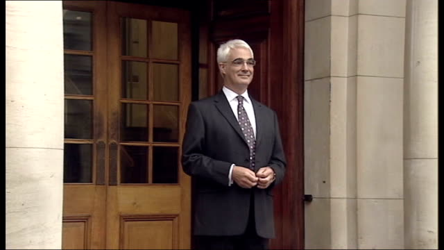 alistair darling's first prebudget report england london treasury ext alistair darling mp out of treasury building and stands on steps for photocall... - alistair darling stock videos & royalty-free footage