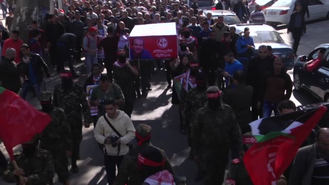 aljabha alshabiya has organised a symbolic funeral for omar nayef who was murdered in bulgaria. the funeral went from aljundi square in gaza city to... - media occupation stock videos & royalty-free footage