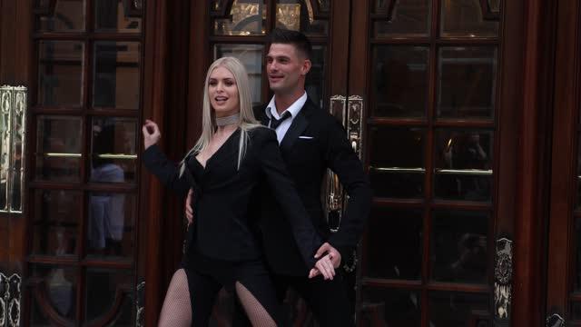 "aljaz skorjanec and nadiya bychkova pose during the ""here come the boys"" photocall at london palladium on may 25, 2021 in london, england. - イングランド南東部点の映像素材/bロール"