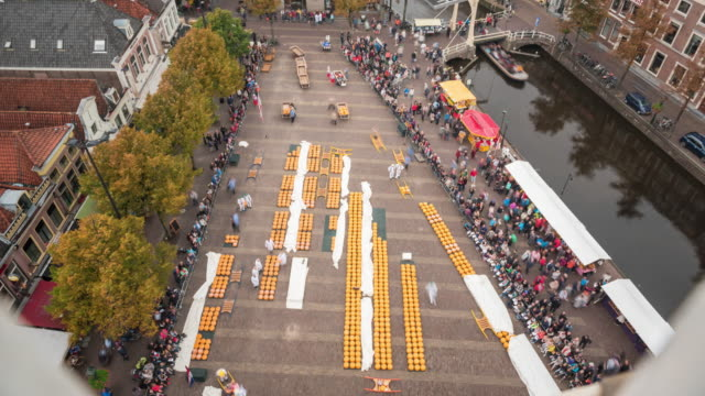 alkmaar cheese market aerial view - dutch culture stock videos and b-roll footage