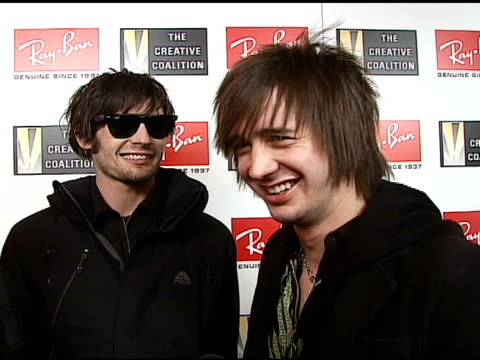 all american rejects on their ray-bans, the event, how they prepare for a show, their projects, why they love their ray-ban sunglasses at the 2007... - the all american rejects stock videos & royalty-free footage