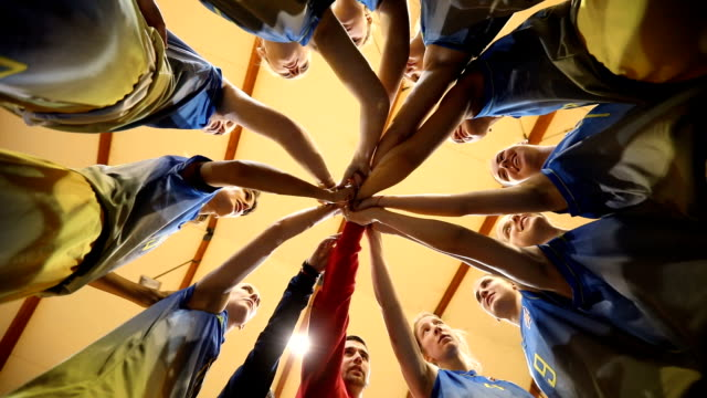 all as one in team - basketball sport stock videos & royalty-free footage