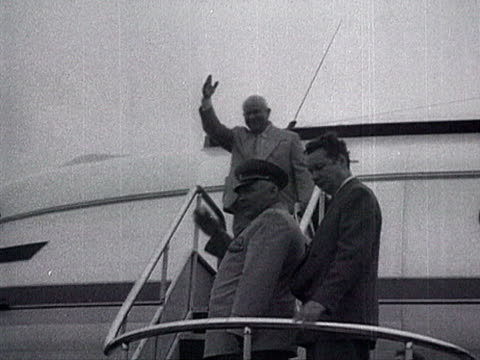ms all chinese leaders and soviet ambassador waving right hand as khrushchev leaves on plane audio / beijing pekin peking beijing china - anno 1958 video stock e b–roll