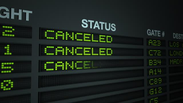 vídeos y material grabado en eventos de stock de todos los vuelos cancelados-información de planchar - tabla de llegadas y salidas