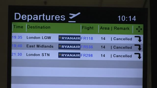 all flights to and from the uk have been cancelled at dublin airport, but aer lingus is still operating flights to the neighbouring country for... - on the move stock videos & royalty-free footage