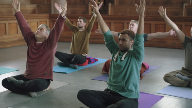 All male yoga class