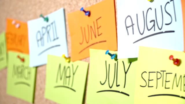 all months of a year pinned on corkboard - aprile video stock e b–roll