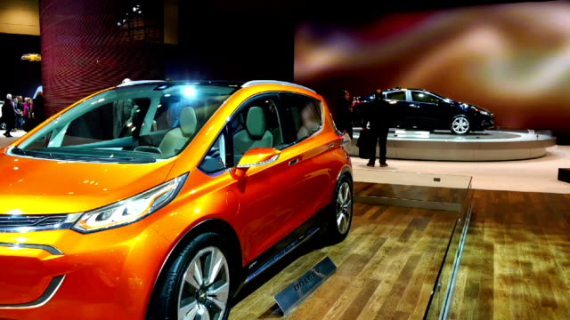 all new 2016 chevrolet bolt ev in the canadian international autoshow which is canada's largest automotive show held annually at the metro toronto... - シボレー点の映像素材/bロール