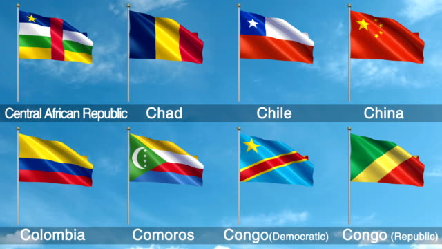all world flags set + alpha channel (loopable) - colombian flag stock videos and b-roll footage