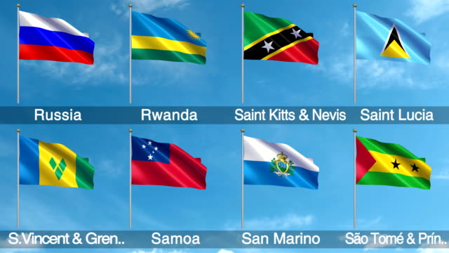 all world flags set + alpha channel (loopable) - samoa stock videos & royalty-free footage
