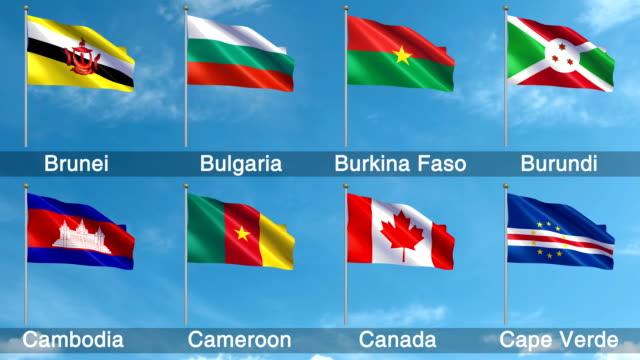 vídeos y material grabado en eventos de stock de todas las banderas mundo set (loopable) - bandera de canada