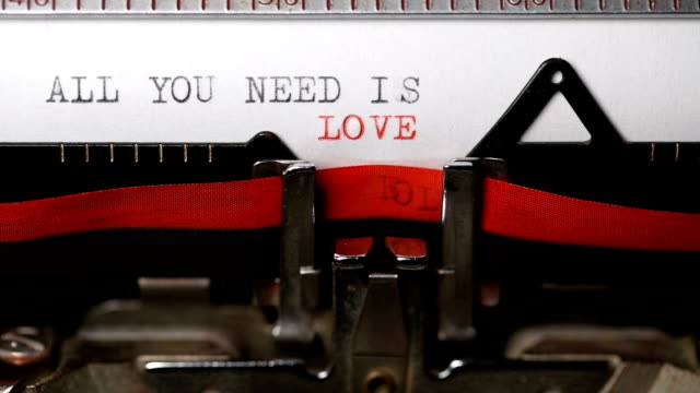 all you need is love - typing with an old typewriter - typewriter stock videos & royalty-free footage
