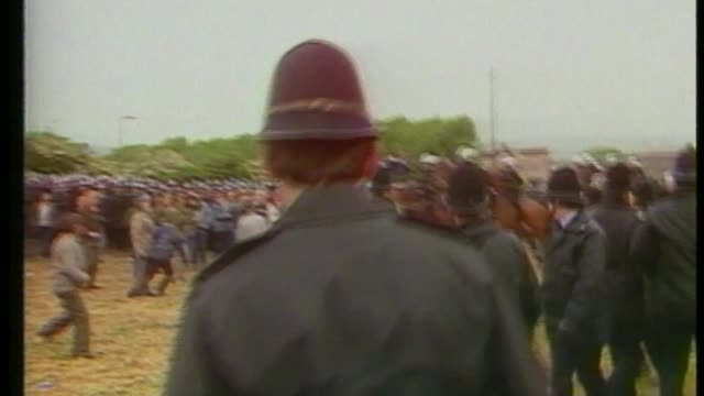 Allegations of police coverup during miners strike T22101219 ENGLAND South Yorkshire Orgreave Coking Plant EXT Various of clashes between police and...