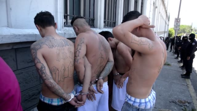 stockvideo's en b-roll-footage met alleged gang members were presented to the press friday in san salvador after the public prosecutors office said the national civil police and the... - agressie