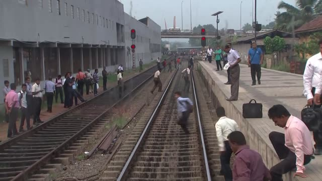 vidéos et rushes de alleged human rights violations during the civil war; sri lanka: colombo: ext tracking shot looking backwards as train leaves colombo station people... - fan palm tree
