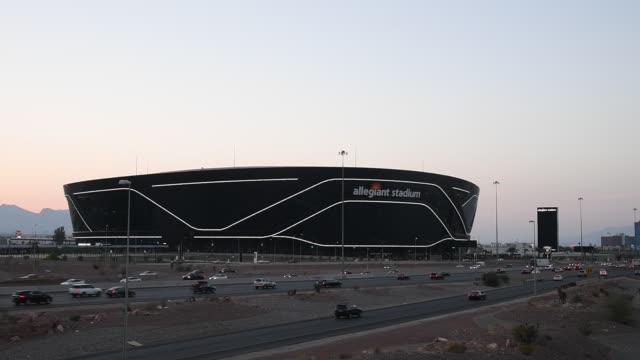 allegiant stadium, the usd 2 billion 000-seat home of the las vegas raiders, is shown west of delano las vegas at mandalay bay resort and casino and... - the strip las vegas stock videos & royalty-free footage
