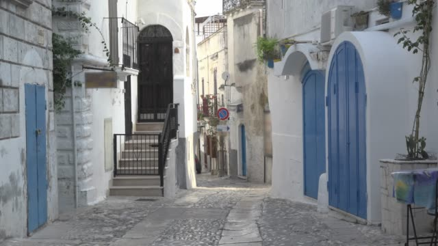 alley in old town of peschici - italy stock videos & royalty-free footage