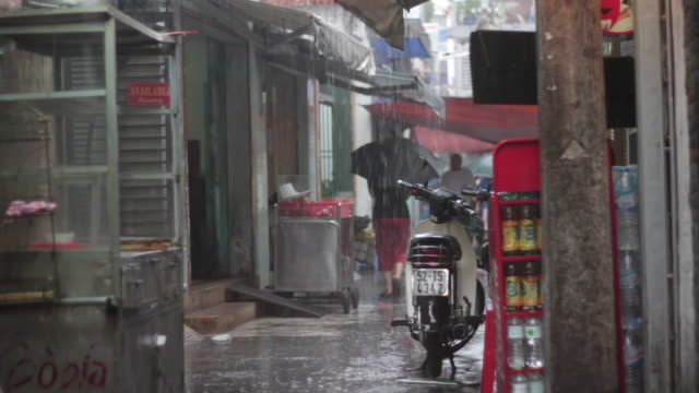 alley rain - moped stock videos and b-roll footage