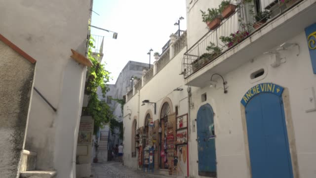 td / alley with shops in old town of peschici - mar mediterraneo video stock e b–roll