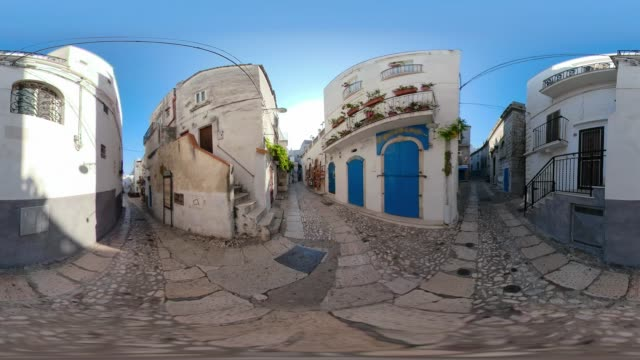 360 vr / alley with shops in old town of peschici - narrow stock videos & royalty-free footage