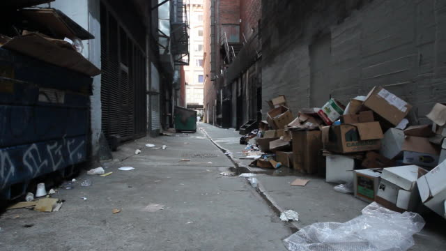 alleyway with dumpster and street full of trash - 段ボール箱点の映像素材/bロール