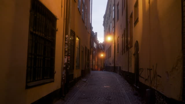alleyways of oldtown stockholm at dusk - old town stock videos & royalty-free footage