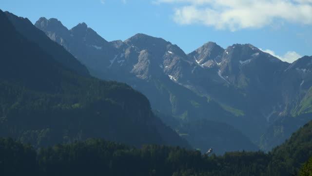 allgaeu alps and heini-klopfer-ski flying junp near oberstdorf, swabia, bavaria, germany - ski flying stock videos and b-roll footage