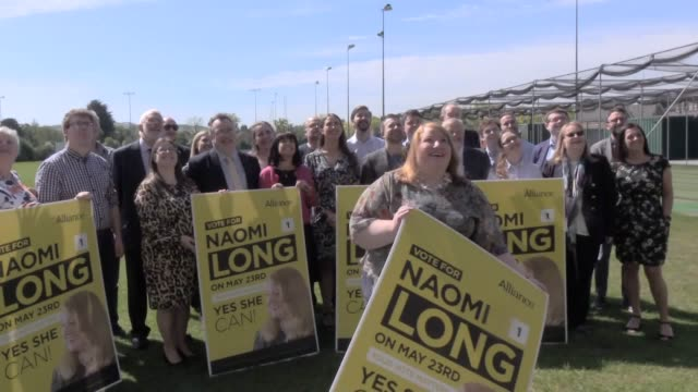 vídeos de stock e filmes b-roll de alliance party leader naomi long launches her bid to win northern ireland's third seat in the european parliament with her party's manifesto launch... - eleição