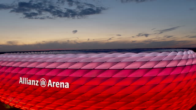 allianz arena, drone - stadion stock-videos und b-roll-filmmaterial