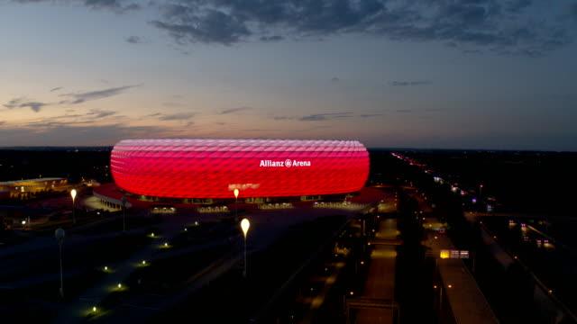 allianz arena, drone - abenddämmerung stock videos & royalty-free footage