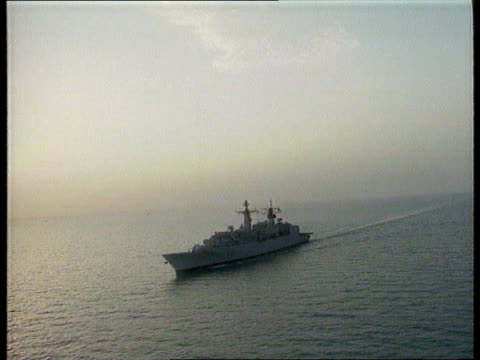 allied forces arrive allied forces arrive bbc cornwall on patrol in the gulf of kuwait ts antiaircraft gun maneuvered ms shell wheeled out onto heli... - allied forces stock videos and b-roll footage