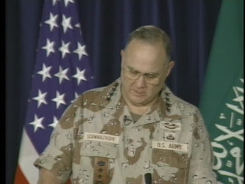 allied forces commander norman schwarzkopf announces that coalition forces began a major battle to eject iraqi forces from kuwait at a press... - united states and (politics or government) stock videos & royalty-free footage