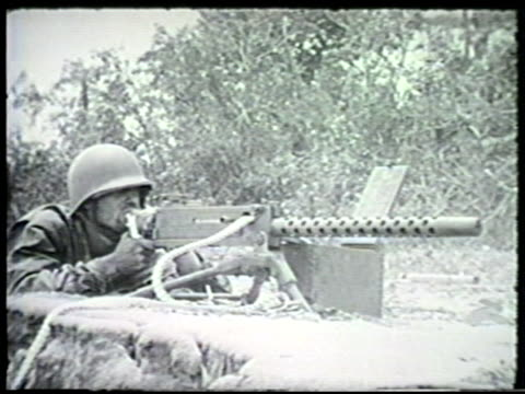 allied forces fighting firing various machine guns including m1919 browning mortars rifles amp artillery in jungles wwii pacific front new guinea... - machine gun stock videos & royalty-free footage