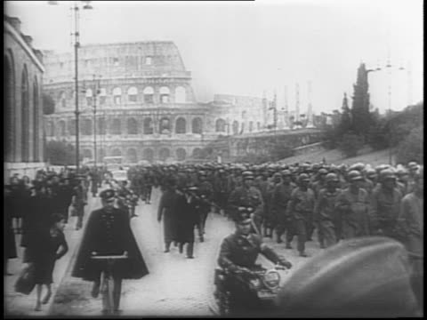 vídeos y material grabado en eventos de stock de allied soldiers and tanks from the fifth army on road / from tank / captured german film shows american prisoners being marched under german guard... - fascismo