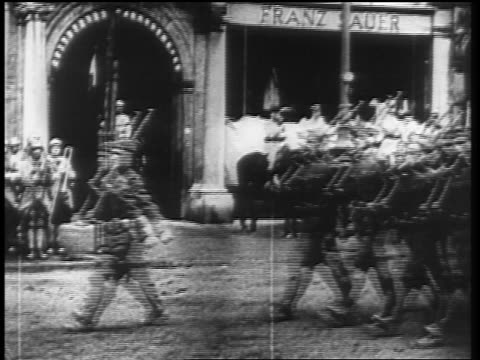 allied soldiers marching with guns thru city streets at end of ww i / germany / newsreel - 1910 1919 stock videos and b-roll footage