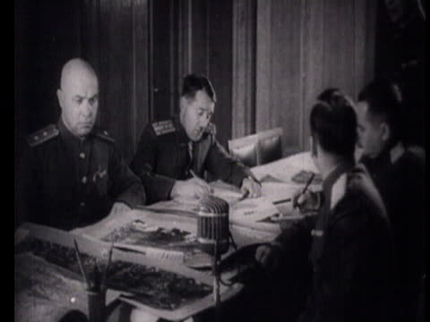 MS Allied Soviet and Rumanian officers and commanders examining maps / Bucharest Romania AUDIO