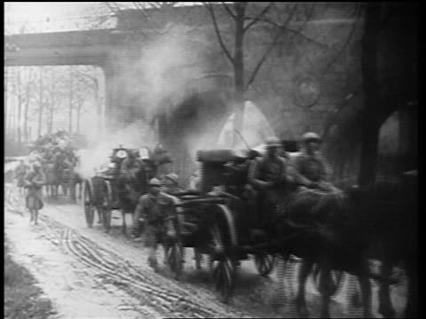 allied troops marching with wagons into germany after world war i / newsreel - herbivorous stock videos & royalty-free footage