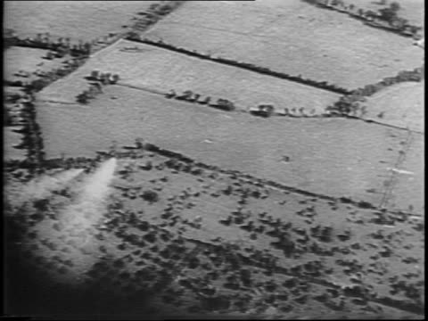 Allied Typhoon Bomber point of view attacking an enemy targets / bomber plane fires rockets