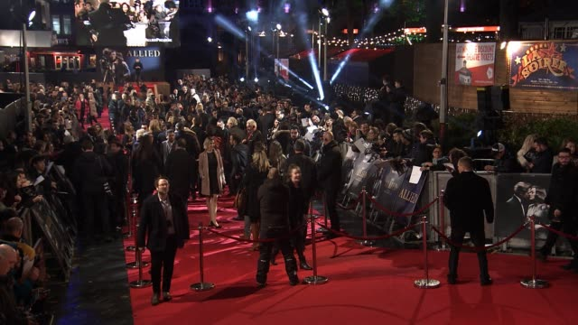 allied' uk film premiere at odeon leicester square on november 21, 2016 in london, england. - leicester square stock videos & royalty-free footage