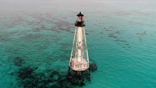 alligator reef lighthouse in islamorada florida - the florida keys stock videos & royalty-free footage