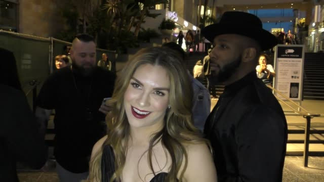 Allison Holker Stephen 'tWitch' Boss attend the Black Panther premiere at Dolby Theatre in Hollywood in Celebrity Sightings in Los Angeles